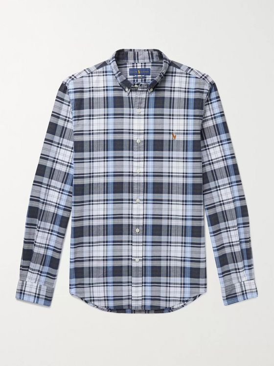 POLO RALPH LAUREN Slim-Fit Button-Down Collar Logo-Embroidered Checked Cotton Oxford Shirt