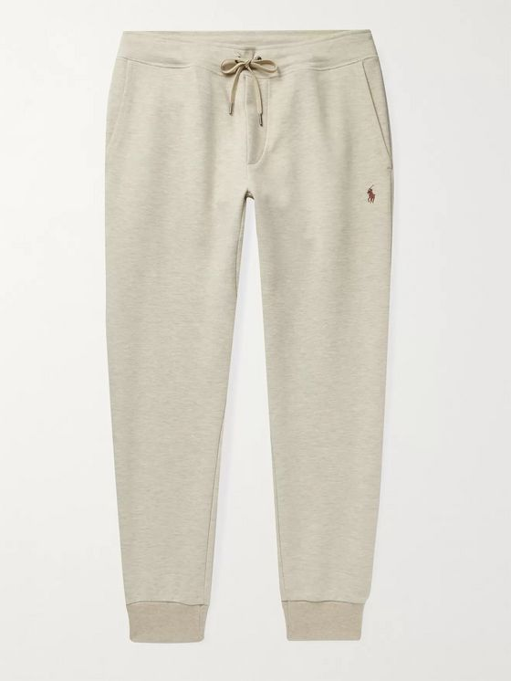 POLO RALPH LAUREN Tapered Logo-Embroidered Mélange Jersey Sweatpants