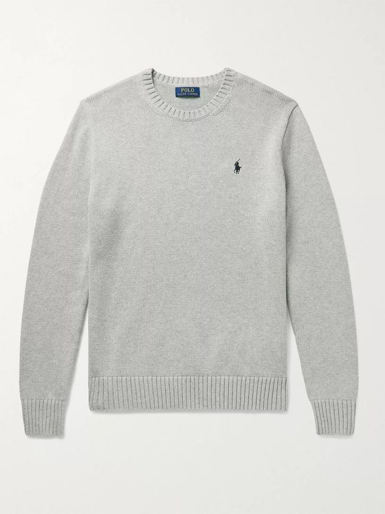 POLO RALPH LAUREN Logo-Embroidered Mélange Cotton Sweater