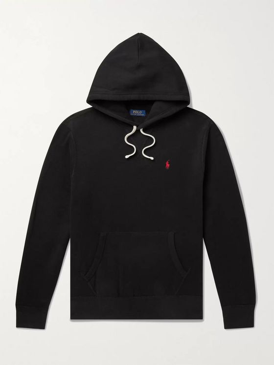 POLO RALPH LAUREN Logo-Embroidered Fleece-Back Cotton-Blend Jersey Hoodie