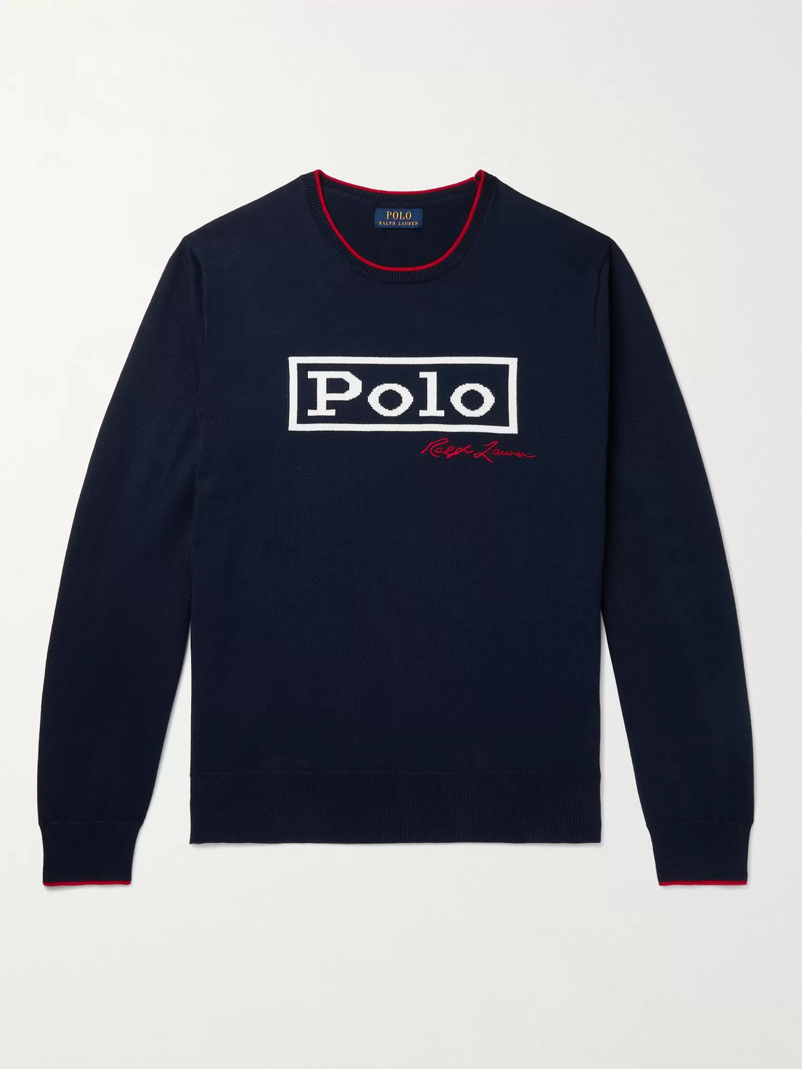 POLO RALPH LAUREN LOGO-INTARSIA CONTRAST-TIPPED COTTON SWEATER