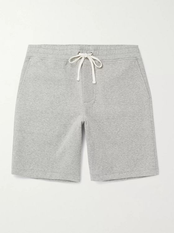 JAMES PERSE Wide-Leg Mélange Cotton-Blend Jersey Drawstring Shorts