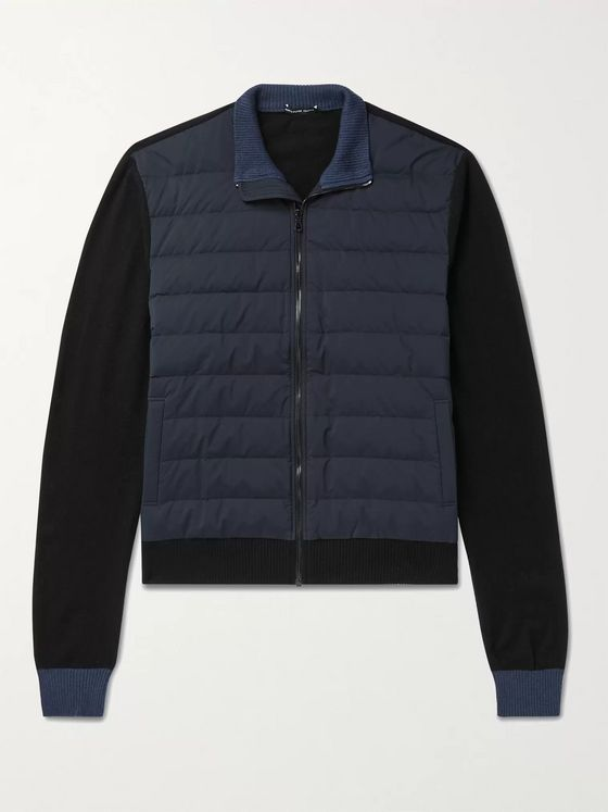 JAMES PERSE Panelled Quilted Nylon and Wool-Blend Down Jacket