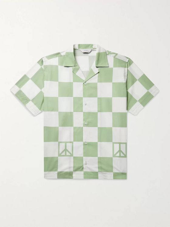 Saturdays NYC Canty Peace Camp-Collar Checked Cotton-Poplin Shirt