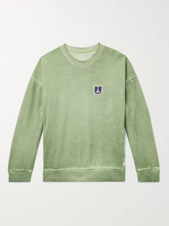 Saturdays NYC Ari Peace Embroidered Pigment-Dyed Loopback Cotton-Jersey Sweatshirt