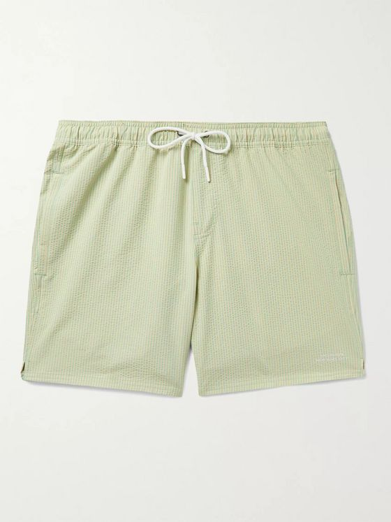 Saturdays NYC Timothy Mid-Length Striped Seersucker Swim Shorts