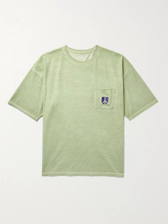 Saturdays NYC Peace Embroidered Pigment-Dyed Cotton-Jersey T-Shirt