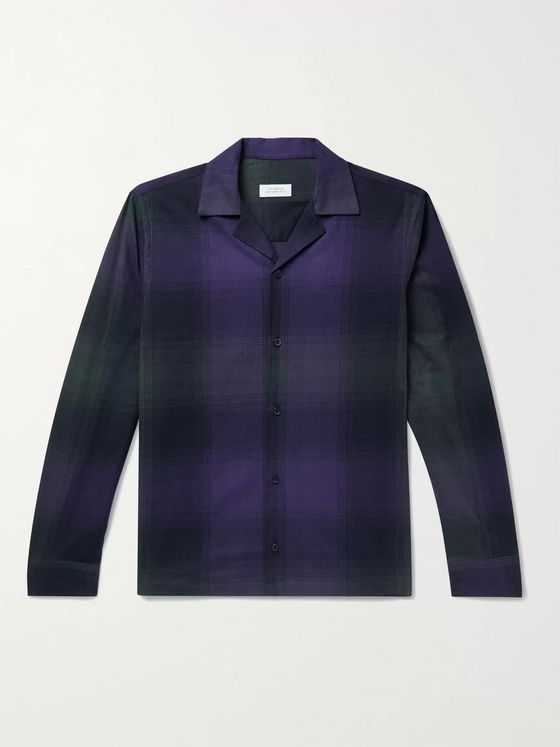 Saturdays NYC Marco Camp-Collar Checked Cotton-Flannel Shirt