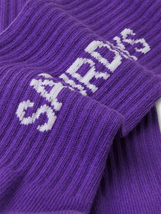 Saturdays NYC Logo-Intarsia Ribbed Cotton-Blend Socks