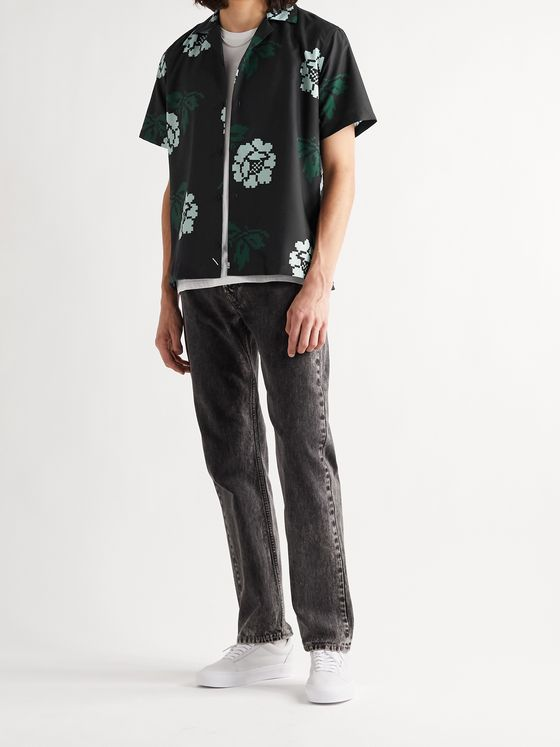 Saturdays NYC Canty Rose Camp-Collar Printed Voile Shirt