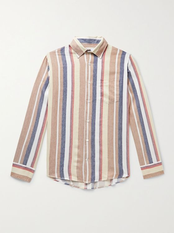 NN07 Errico Striped Linen and Cotton-Blend Shirt