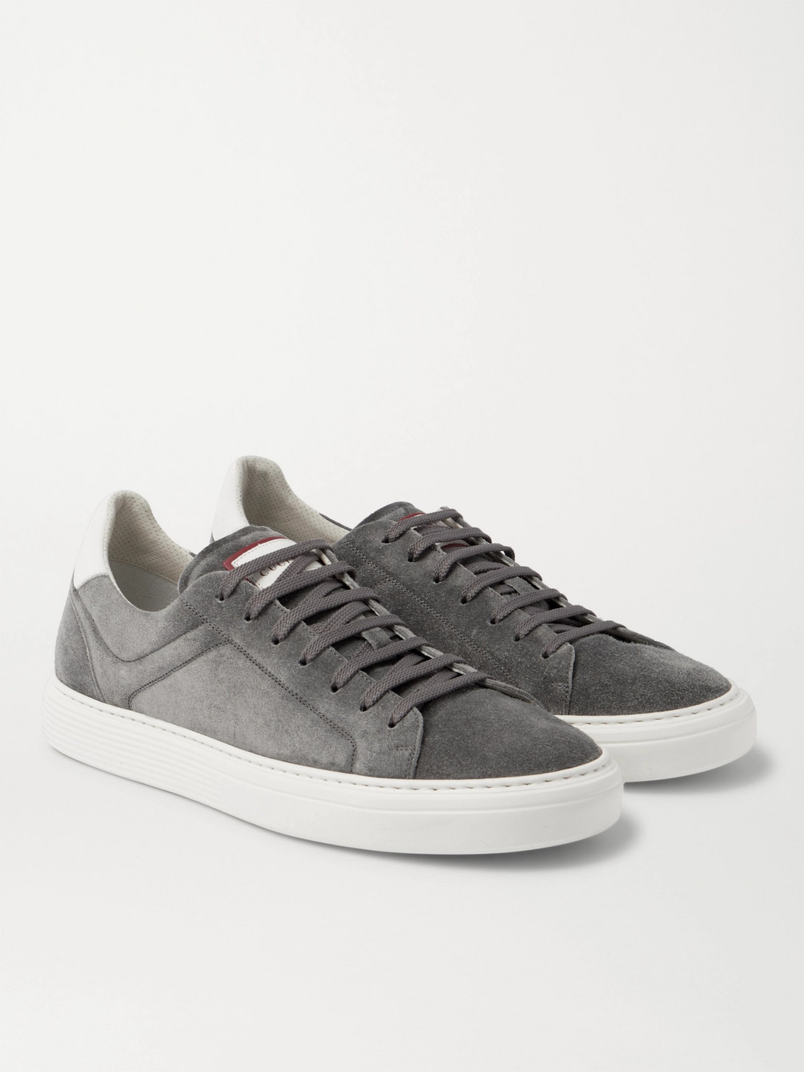 Brunello Cucinelli Suedes LEATHER-TRIMMED SUEDE SNEAKERS