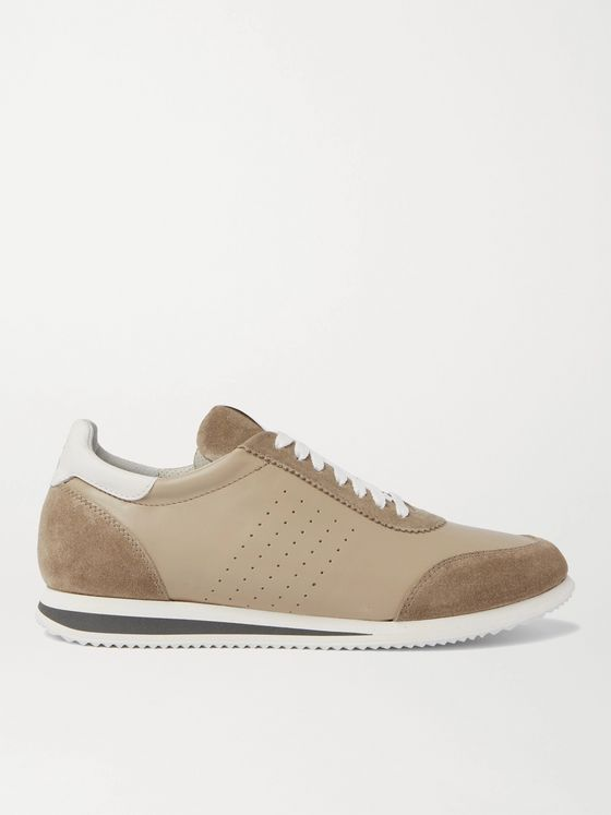 BRUNELLO CUCINELLI Suede-Trimmed Perforated Leather Sneakers