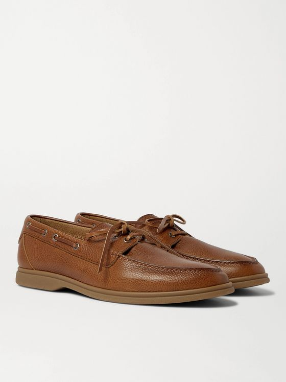 BRUNELLO CUCINELLI Textured-Leather Boat Shoes