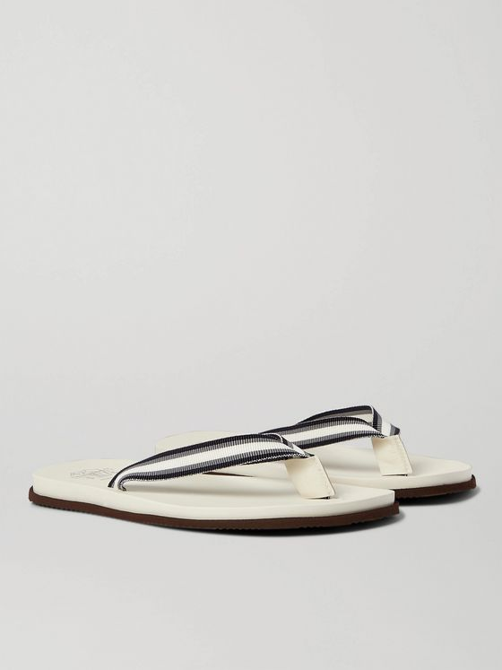 BRUNELLO CUCINELLI Striped Canvas and Leather Flip-Flops