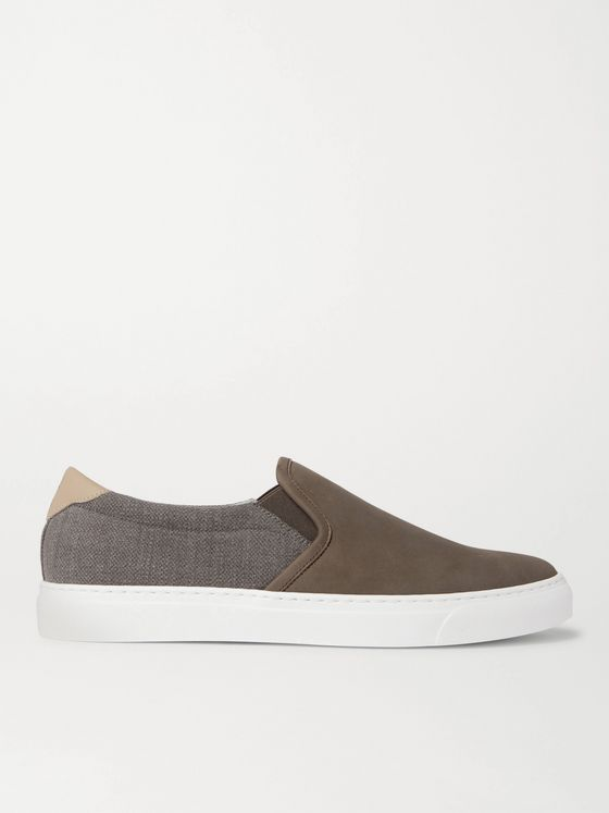 BRUNELLO CUCINELLI Leather-Trimmed Nubuck and Canvas Slip-On Sneakers