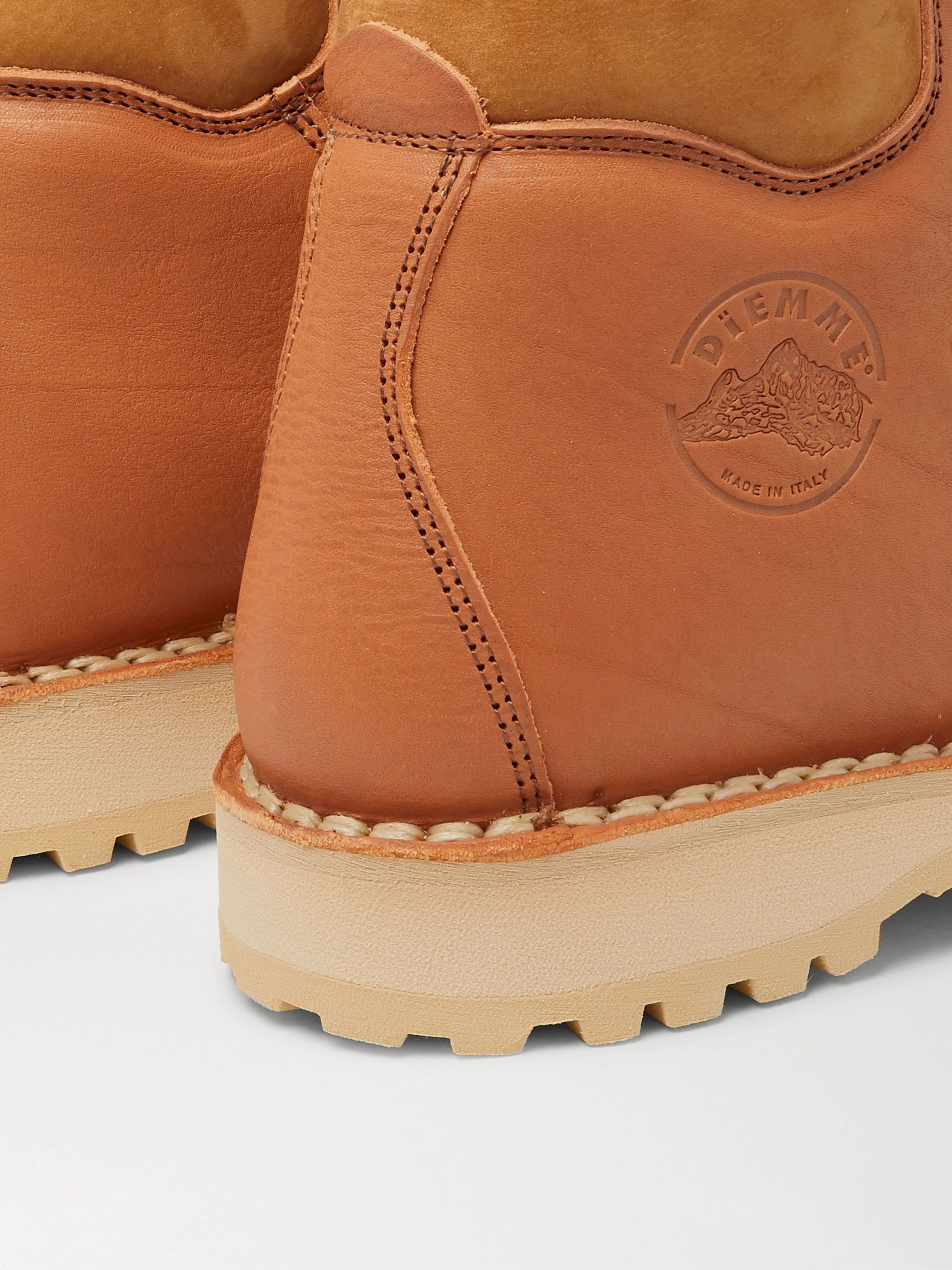 DIEMME Roccia Vet Suede-Trimmed Logo-Debossed Leather Hiking Boots