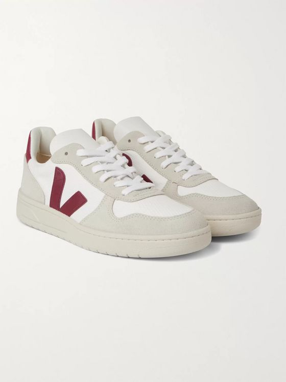 VEJA V-10 Leather and Rubber-Trimmed Suede and B-Mesh Sneakers