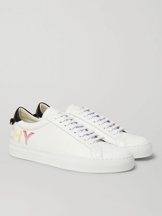 GIVENCHY Urban Street Logo-Embroidered Leather Sneakers