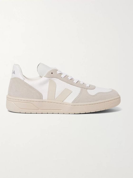VEJA V-10 Leather-Trimmed Mesh and Suede Sneakers