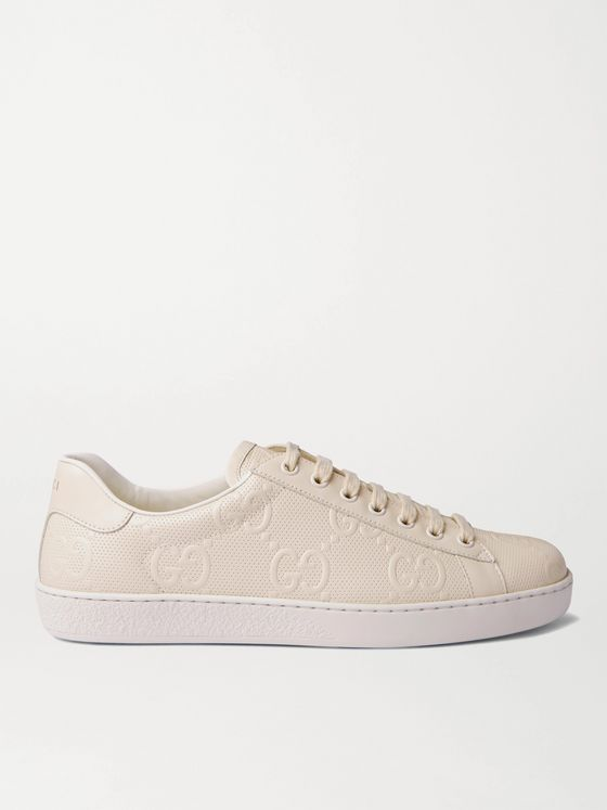GUCCI Ace Logo-Embossed Perforated Leather Sneakers