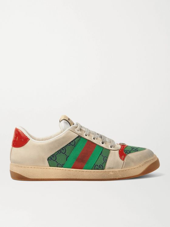 GUCCI Screener GG Webbing-Trimmed Distressed Leather and Printed Canvas Sneakers