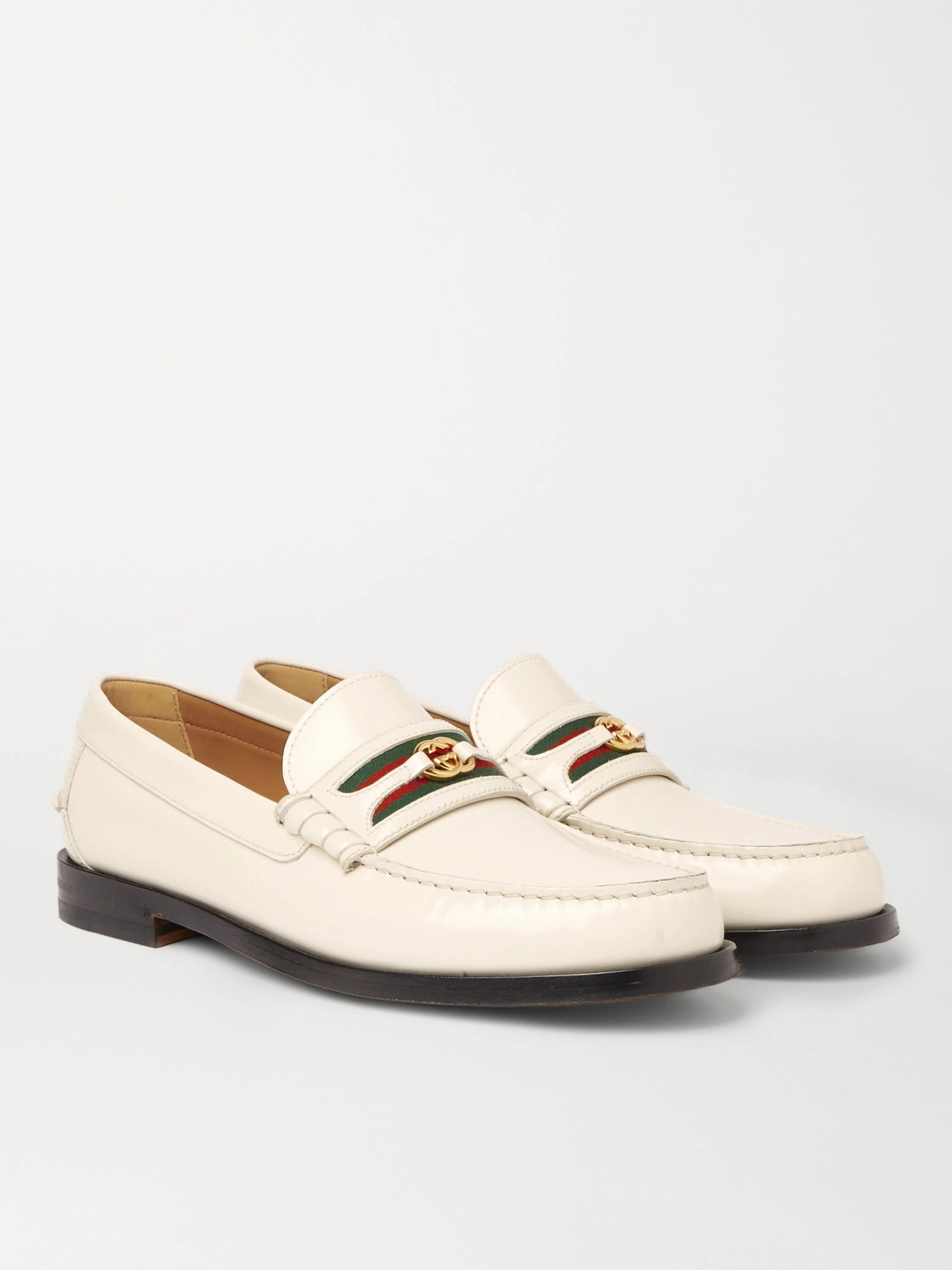 GUCCI Kaveh Webbing-Trimmed Leather Loafers