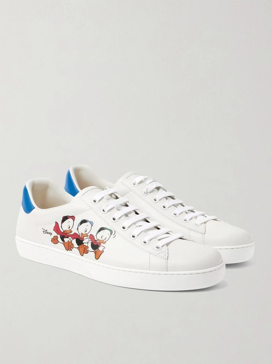 GUCCI + Disney New Ace Printed Leather Sneakers