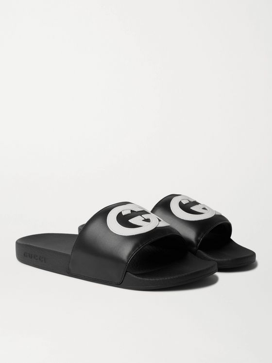 GUCCI Logo-Appliquéd Leather Slides