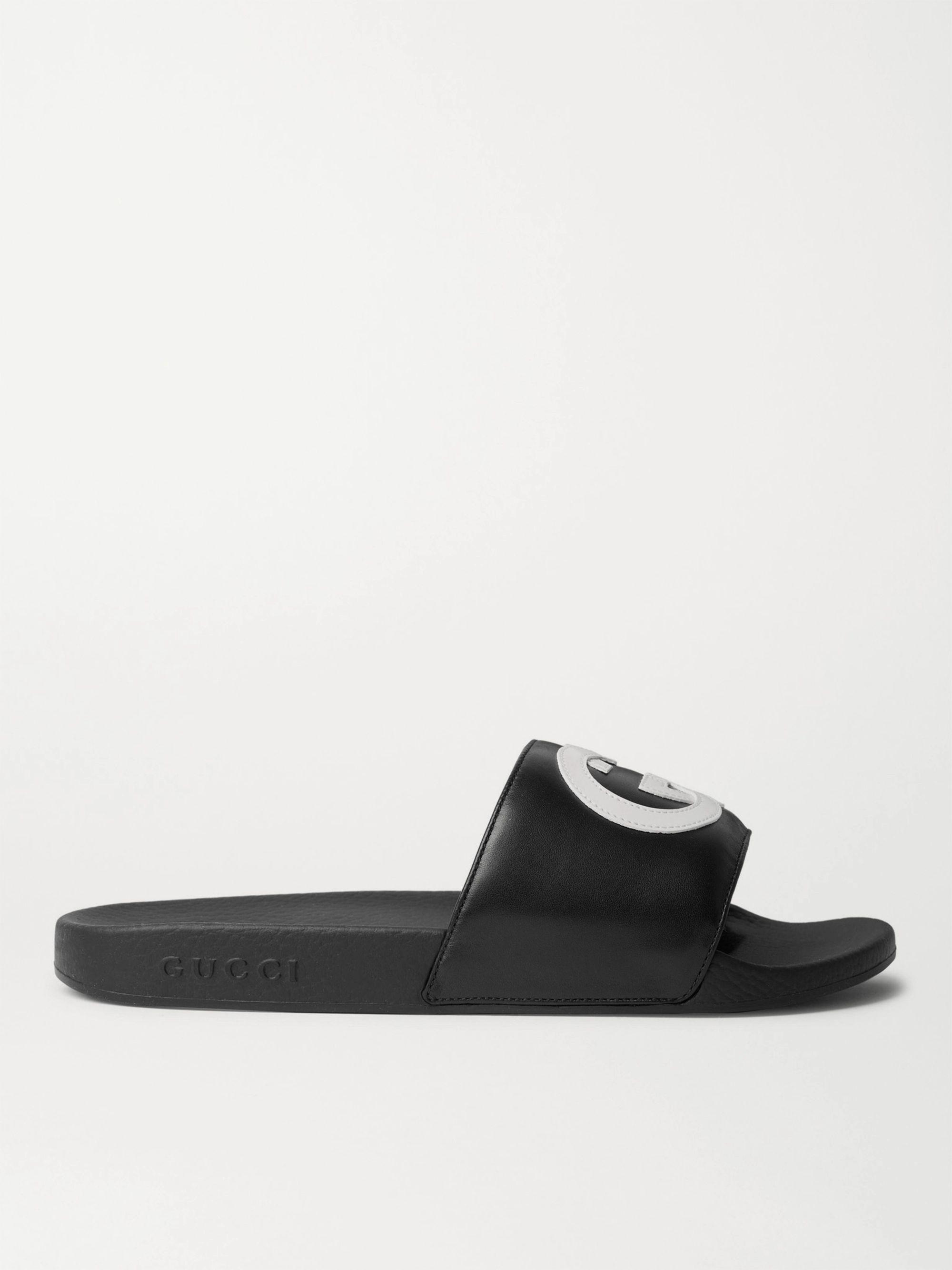 구찌 Gucci Logo-Appliqued Leather Slides,Black