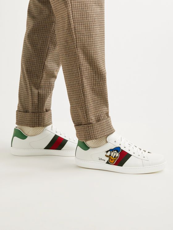 GUCCI + Disney New Ace Appliquéd Webbing-Trimmed Leather Sneakers