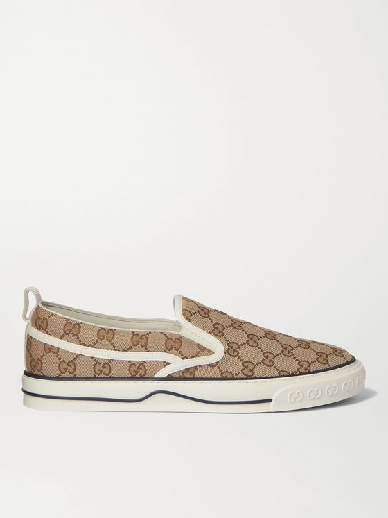 GUCCI Tennis 1977 Monogrammed Canvas Slip-On Sneakers