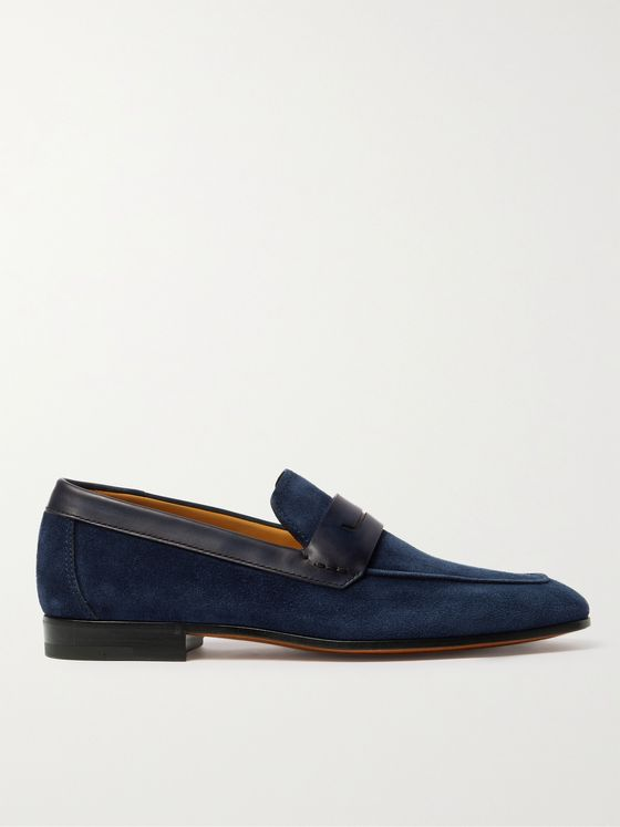 BERLUTI Lorenzo Leather-Trimmed Suede Loafers