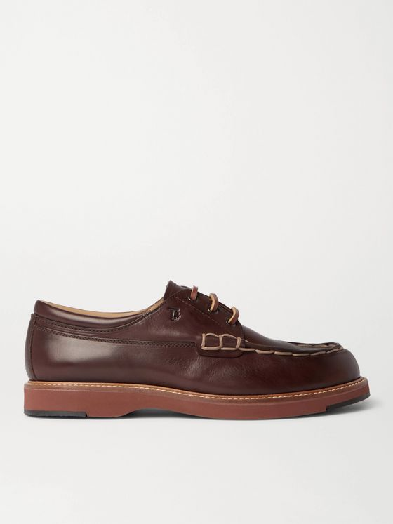 TOD'S Contrast-Stitched Leather Boat Shoes