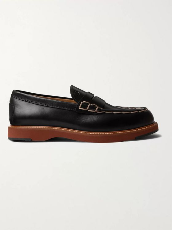 TOD'S Contrast-Stitched Leather Loafers