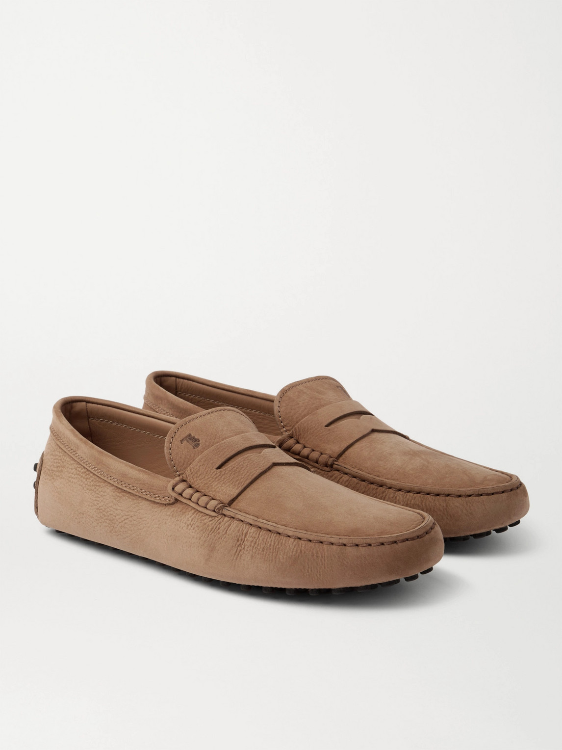 Tod's Gommino Nubuck Driving Shoes In Brown