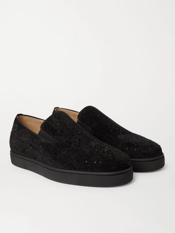 CHRISTIAN LOUBOUTIN Boat Man Studded Velvet Slip-On Sneakers