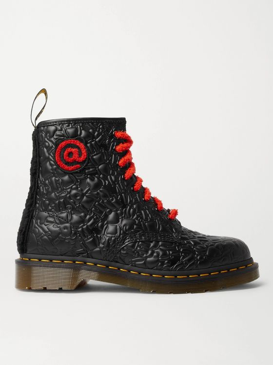 DR. MARTENS + Bearbrick Faux Fur-Trimmed Quilted Leather Boots