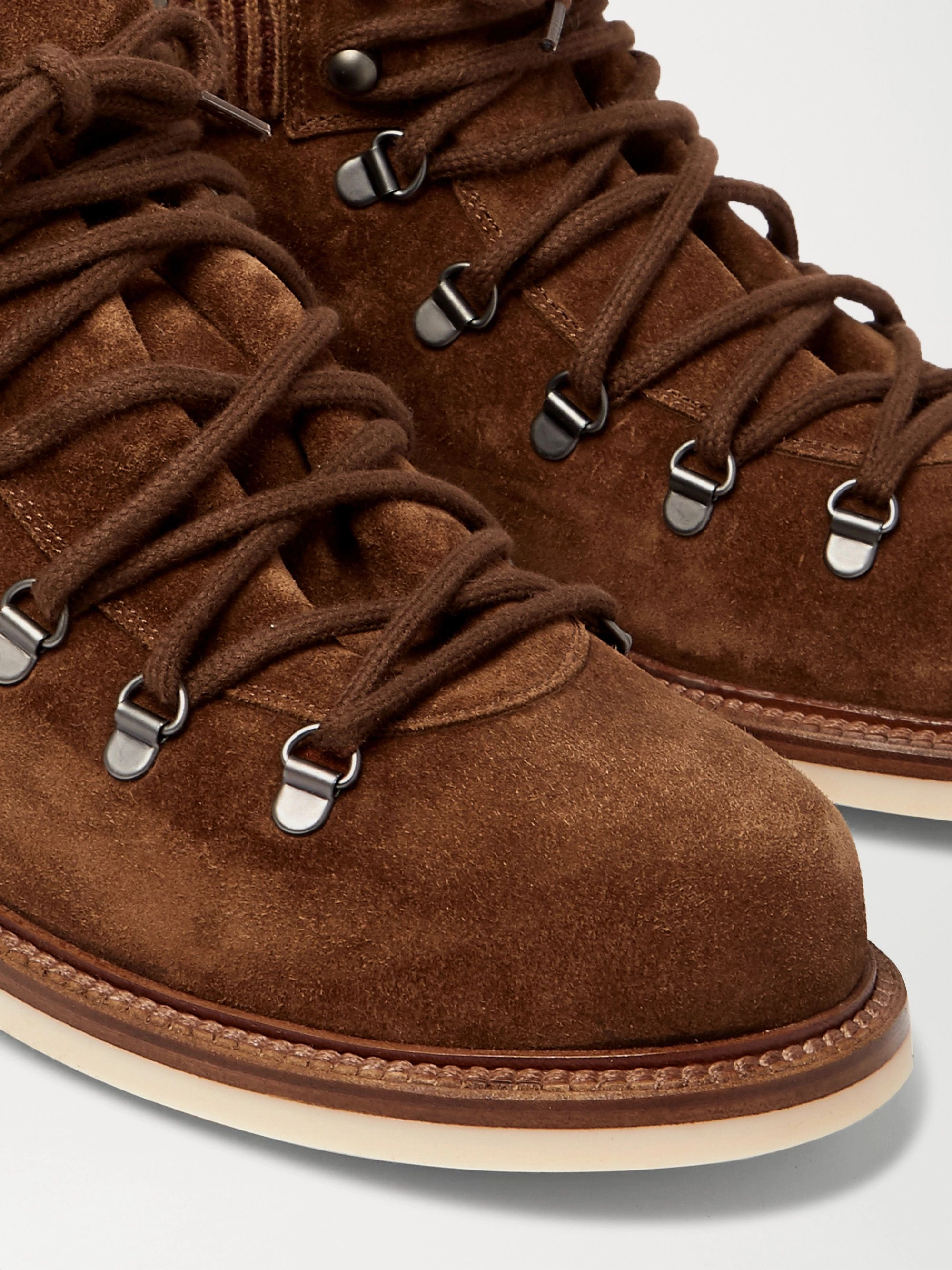 LORO PIANA Laax Walk Baby Cashmere-Trimmed Suede Hiking Boots