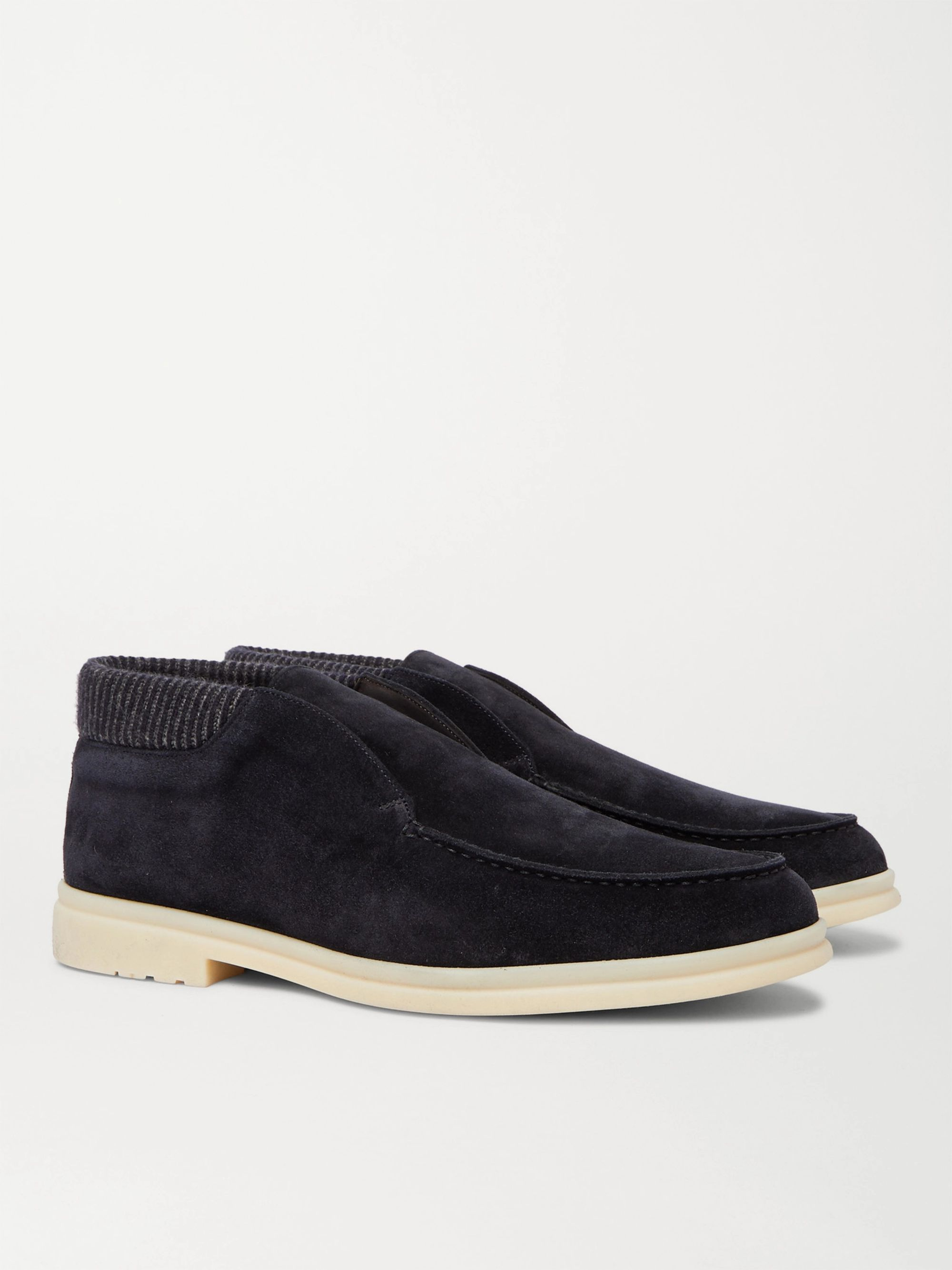 LORO PIANA Open Walk Winter Baby Cashmere-Trimmed Suede Desert Boots