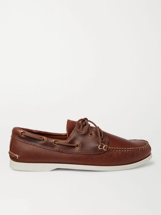 QUODDY Downeast Pebble-Grain Leather Boat Shoes