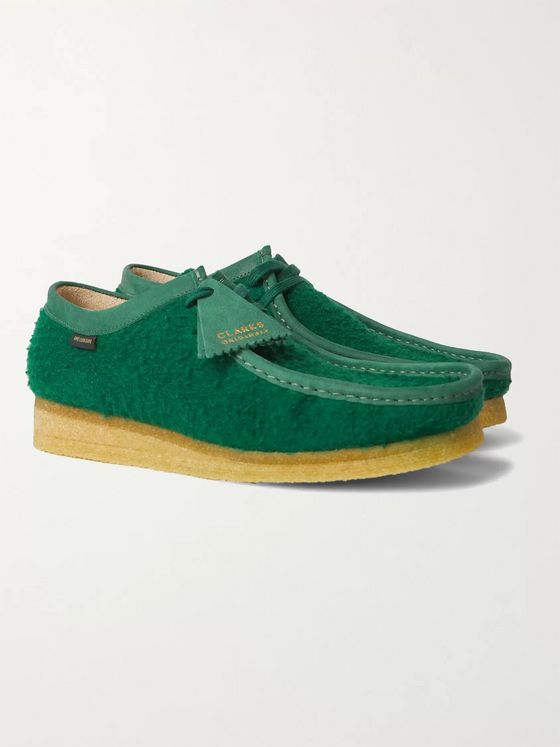 Clarks Originals + Aimé Leon Dore Wallabee Low Leather-Trimmed Wool-Fleece Desert Boots