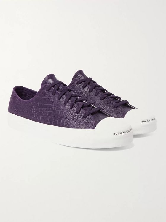 CONVERSE + Pop Trading Company Jack Purcell Embossed Leather Sneakers