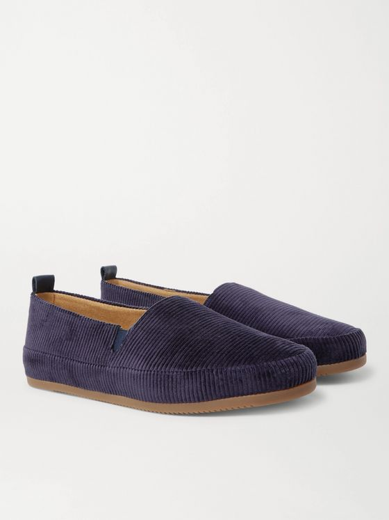 Mulo Shearling-Lined Corduroy Slippers