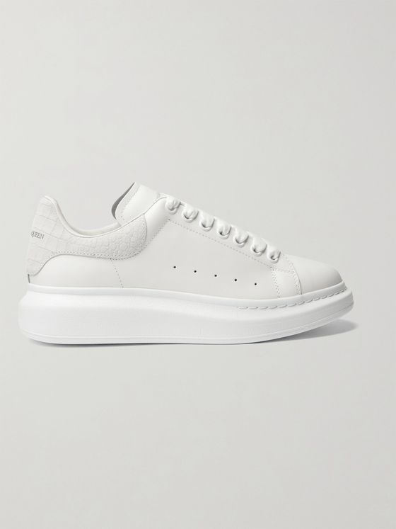 ALEXANDER MCQUEEN Exaggerated-Sole Croc Effect Suede-Trimmed Leather Sneakers