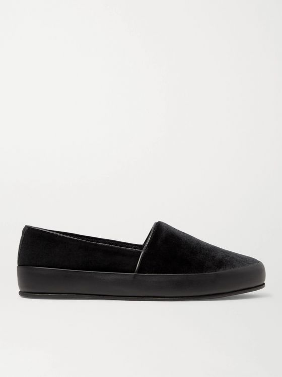 MULO Leather-Trimmed Velvet Slippers