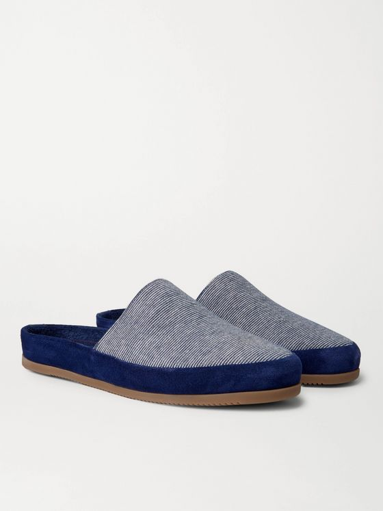 MULO + Hamilton and Hare Suede-Trimmed Striped Cotton Slippers