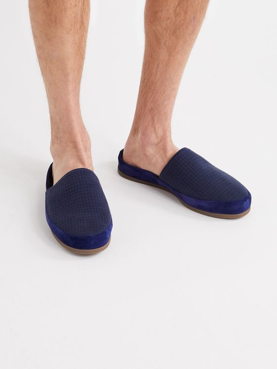 MULO + Hamilton and Hare Suede-Trimmed Waffle-Knit Slippers