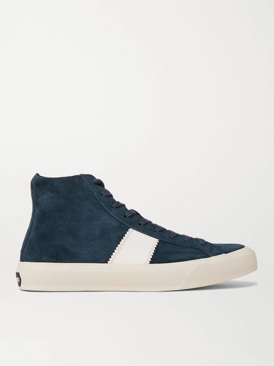 TOM FORD Cambridge Leather-Trimmed Suede High Top Sneakers