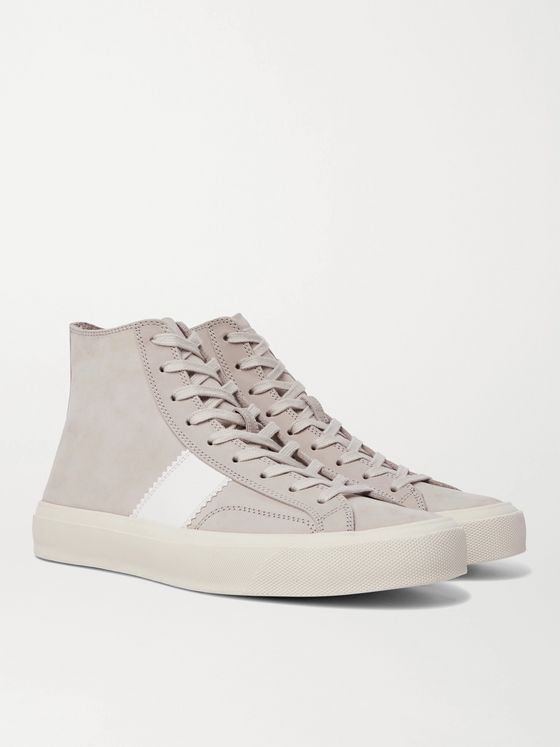 TOM FORD Cambridge Leather-Trimmed Nubuck High-Top Sneakers